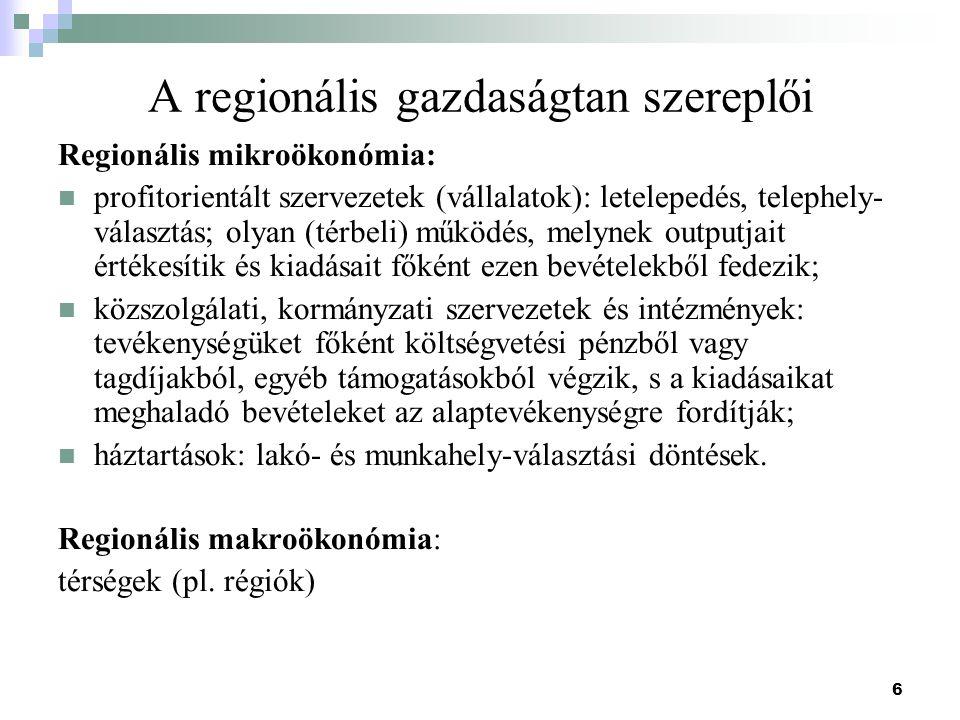 A regionális gazdaságtan szereplői