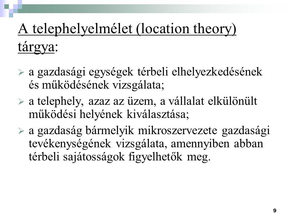 A telephelyelmélet (location theory) tárgya:
