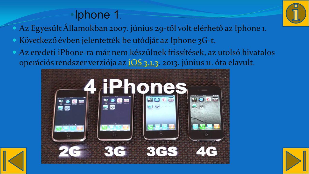 Iphone 1. Az Egyesült Államokban 2007. június 29-től volt elérhető az Iphone 1. Következő évben jelentették be utódját az Iphone 3G-t.