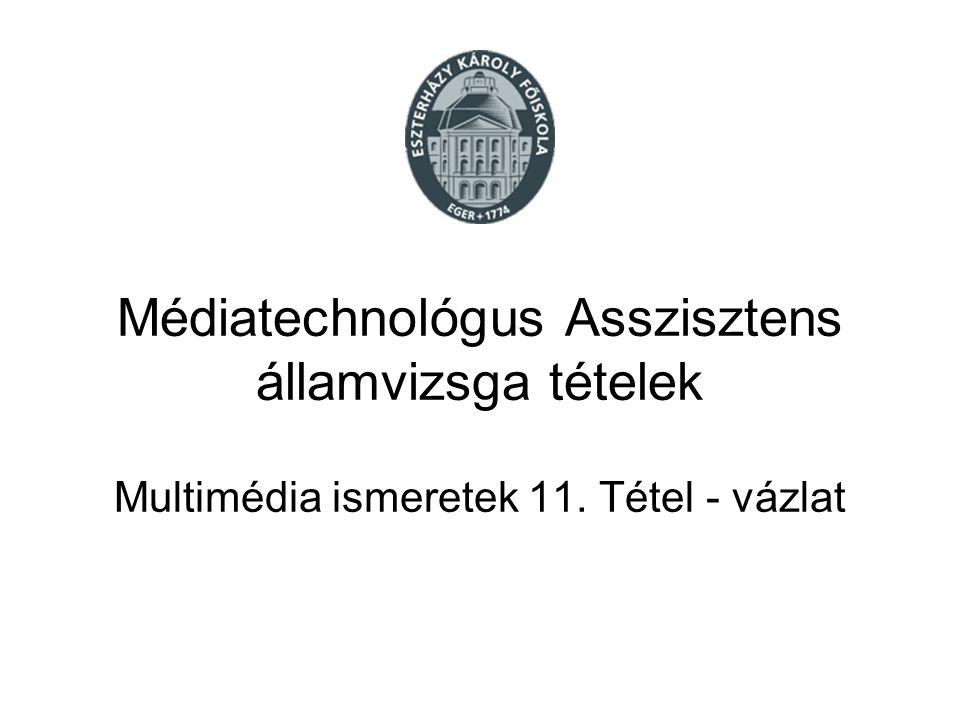 Médiatechnológus Asszisztens államvizsga tételek