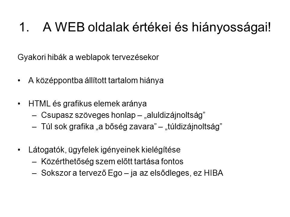 A WEB oldalak értékei és hiányosságai!