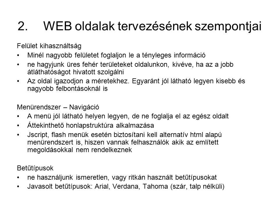 WEB oldalak tervezésének szempontjai