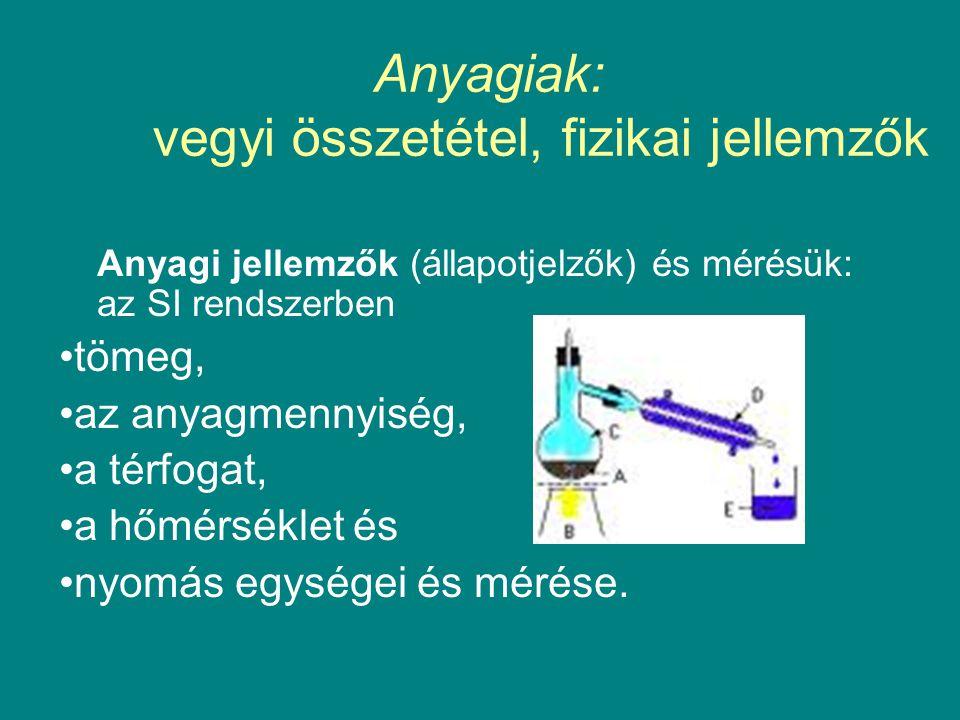 Anyagiak: vegyi összetétel, fizikai jellemzők