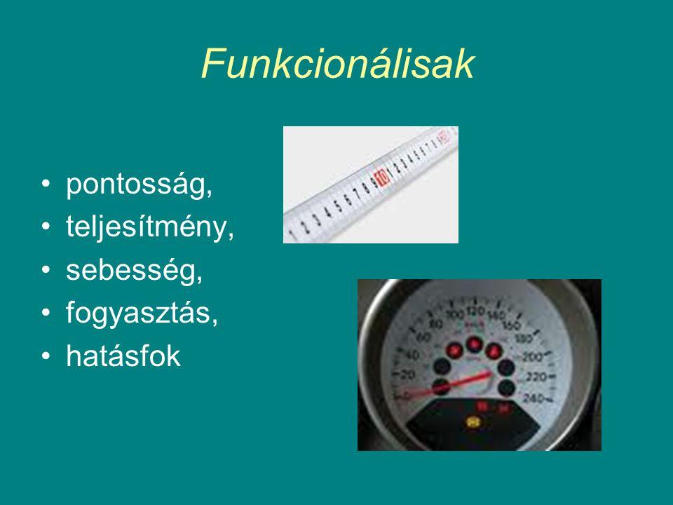 Funkcionálisak pontosság, teljesítmény, sebesség, fogyasztás, hatásfok