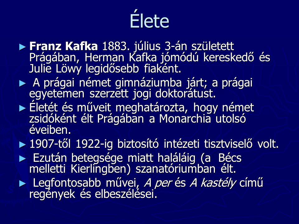 Élete Franz Kafka 1883. július 3-án született Prágában, Herman Kafka jómódú kereskedő és Julie Löwy legidősebb fiaként.