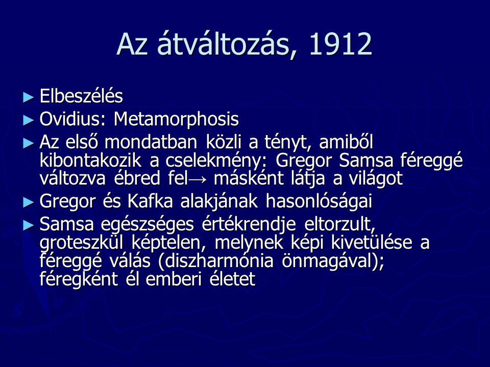 Az átváltozás, 1912 Elbeszélés Ovidius: Metamorphosis