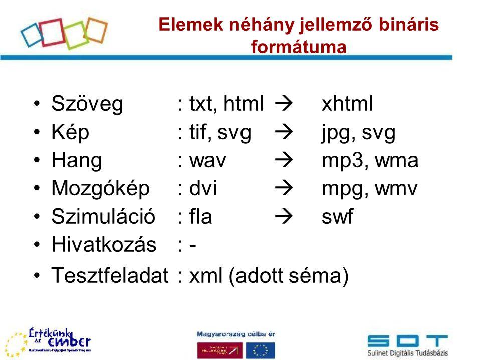 Elemek néhány jellemző bináris formátuma