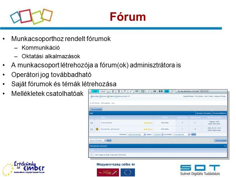 Fórum Munkacsoporthoz rendelt fórumok