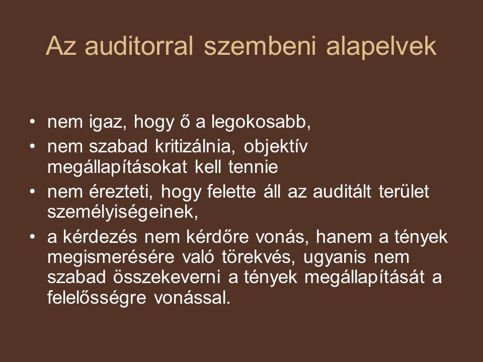 Az auditorral szembeni alapelvek