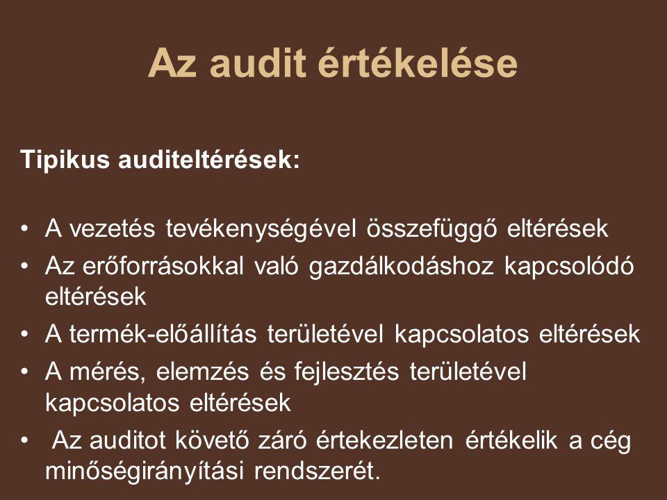 Az audit értékelése Tipikus auditeltérések: