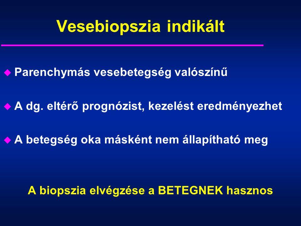 Vesebiopszia indikált