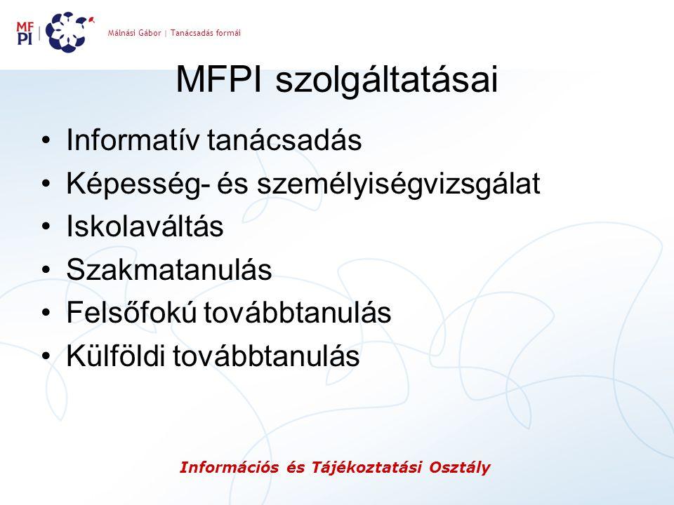 MFPI szolgáltatásai Informatív tanácsadás