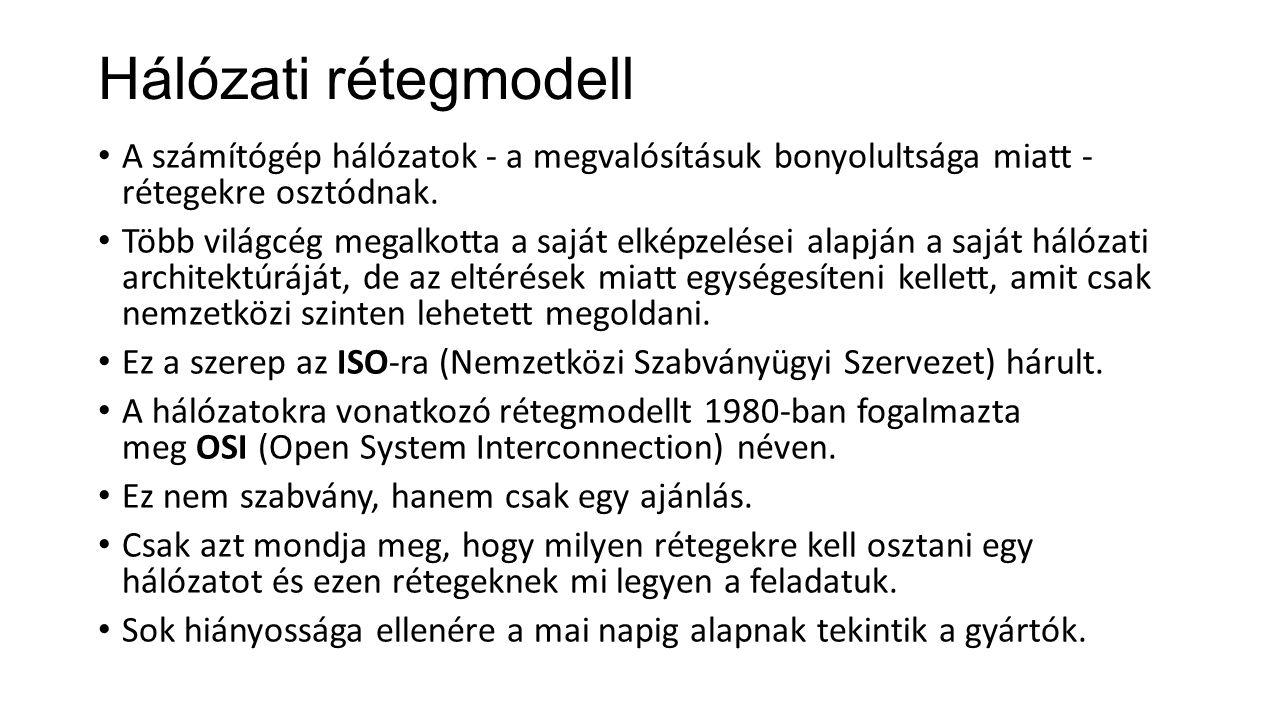 Hálózati rétegmodell A számítógép hálózatok - a megvalósításuk bonyolultsága miatt - rétegekre osztódnak.