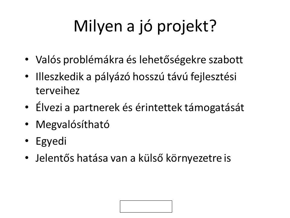 Milyen a jó projekt Valós problémákra és lehetőségekre szabott