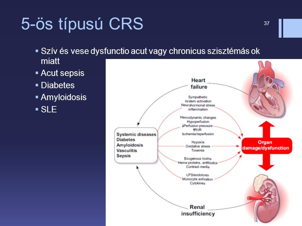 5-ös típusú CRS Szív és vese dysfunctio acut vagy chronicus szisztémás ok miatt. Acut sepsis. Diabetes.