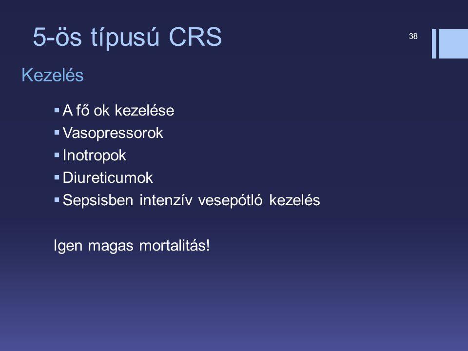 5-ös típusú CRS Kezelés A fő ok kezelése Vasopressorok Inotropok