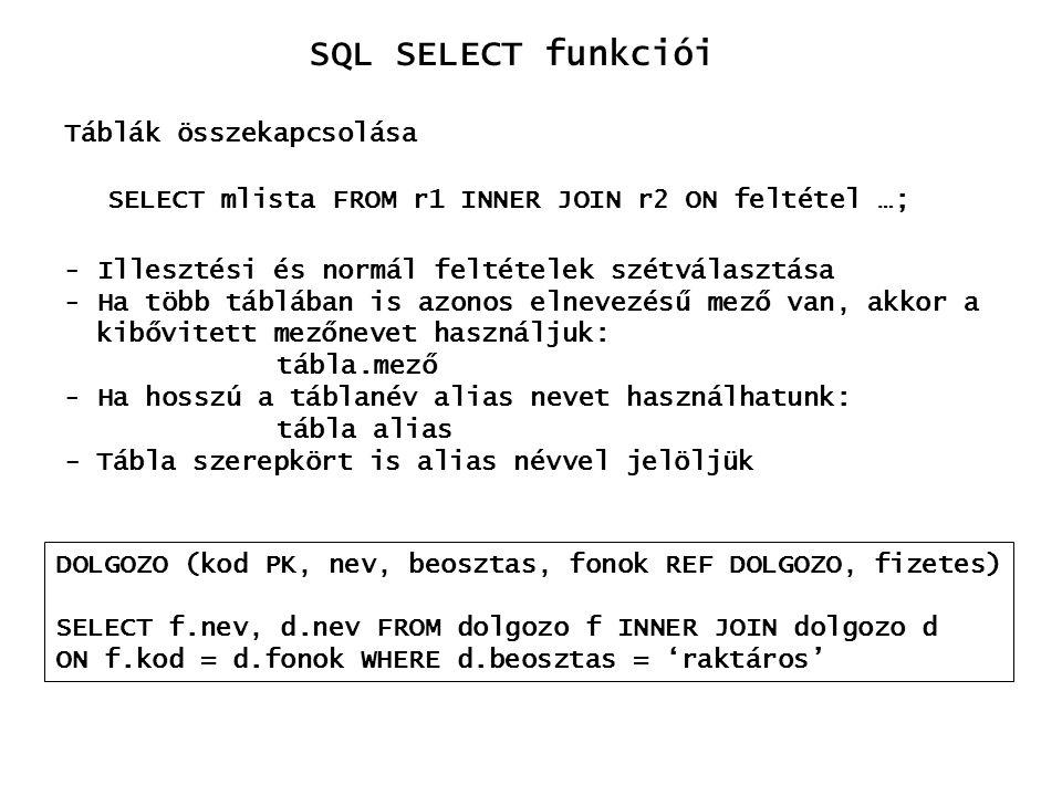 SQL SELECT funkciói Táblák összekapcsolása
