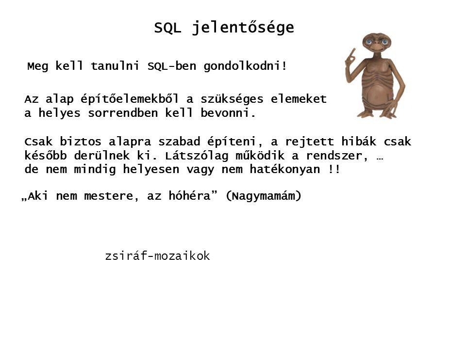 SQL jelentősége Meg kell tanulni SQL-ben gondolkodni!