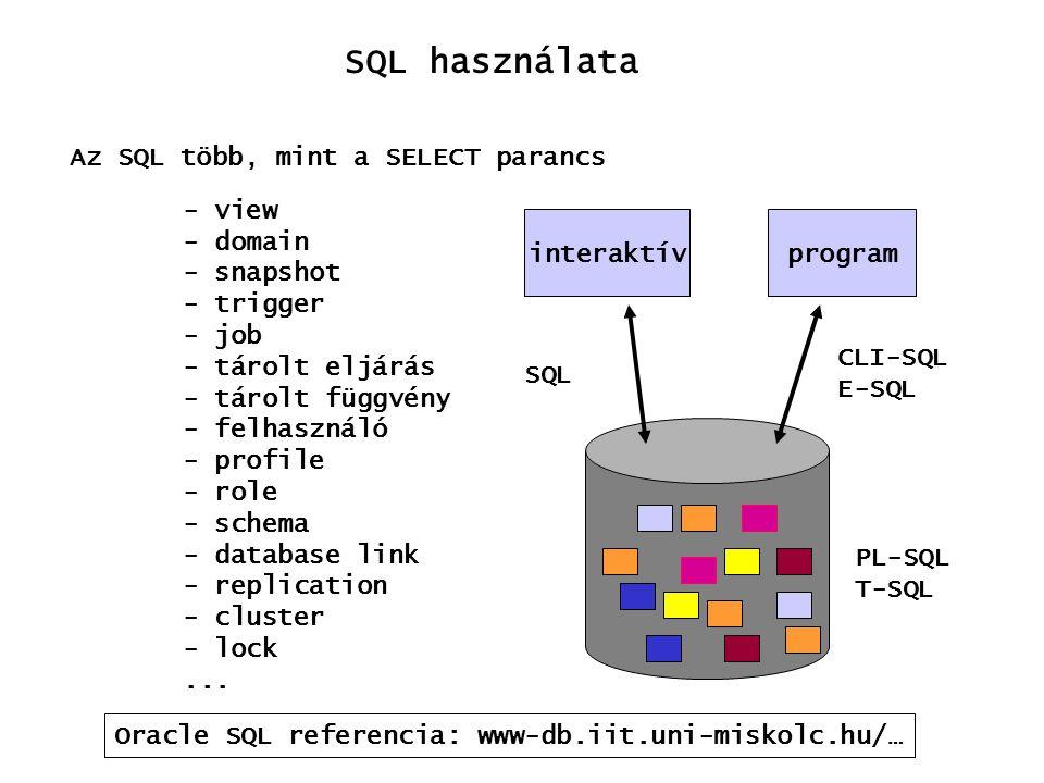 SQL használata Az SQL több, mint a SELECT parancs - view - domain