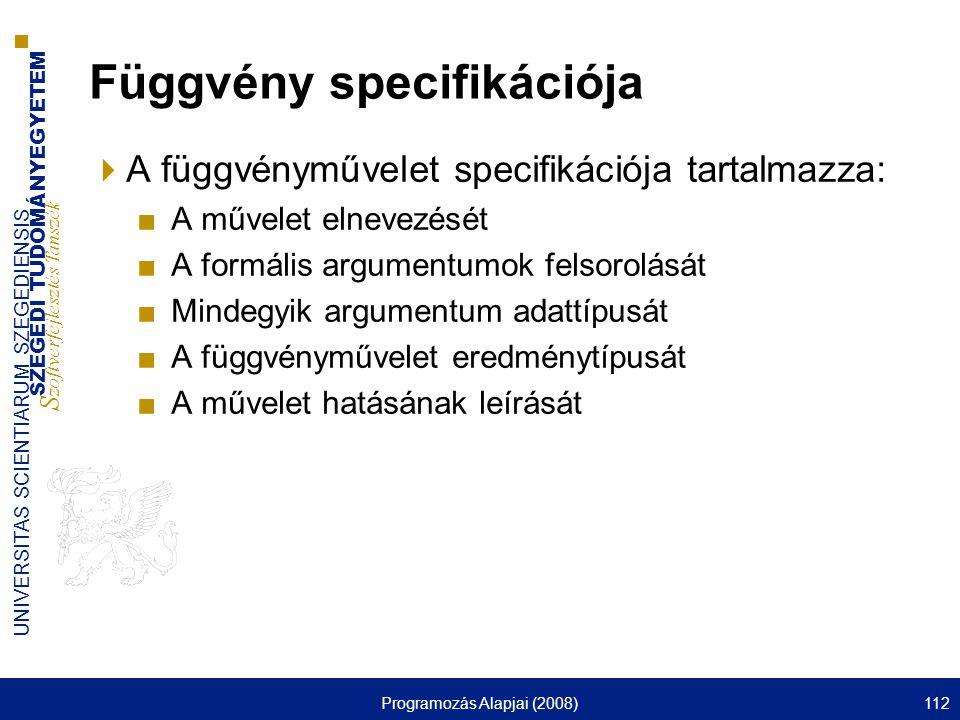 Függvény specifikációja