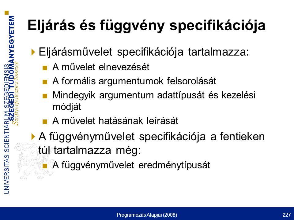 Eljárás és függvény specifikációja