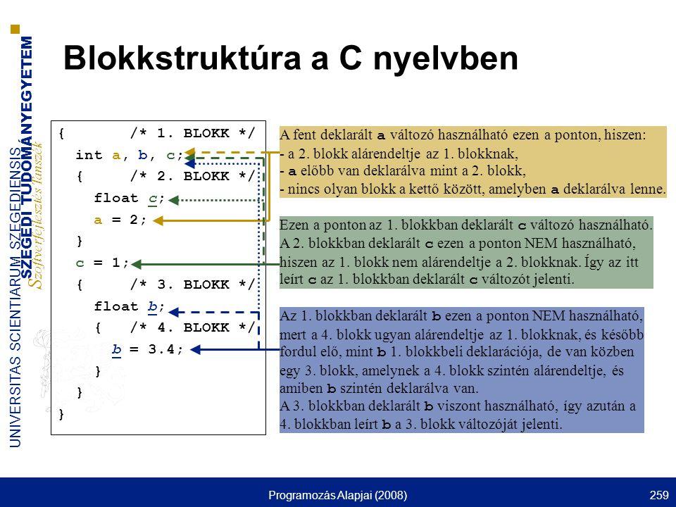 Blokkstruktúra a C nyelvben