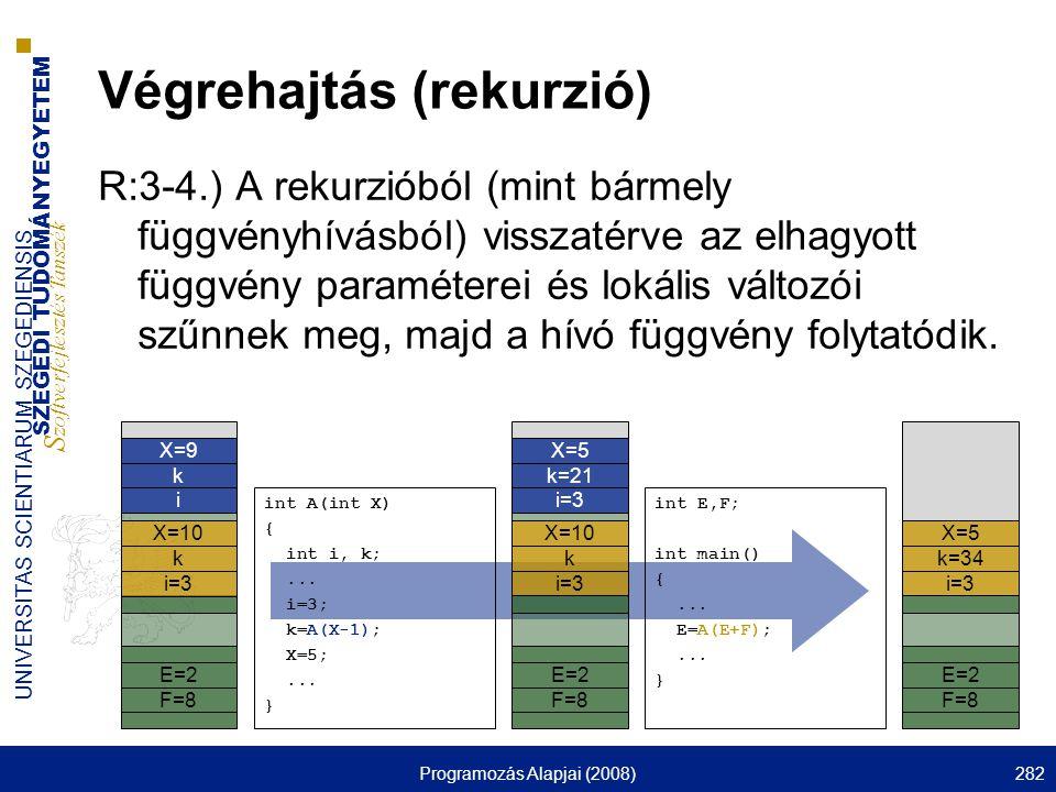 Végrehajtás (rekurzió)
