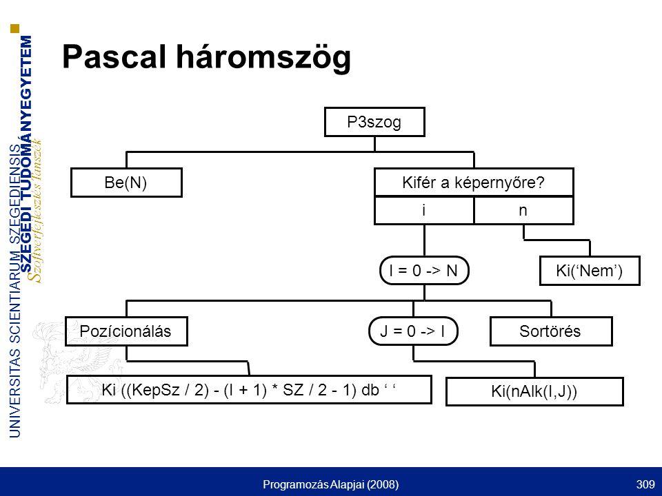 Pascal háromszög P3szog Be(N) Kifér a képernyőre i n Pozícionálás