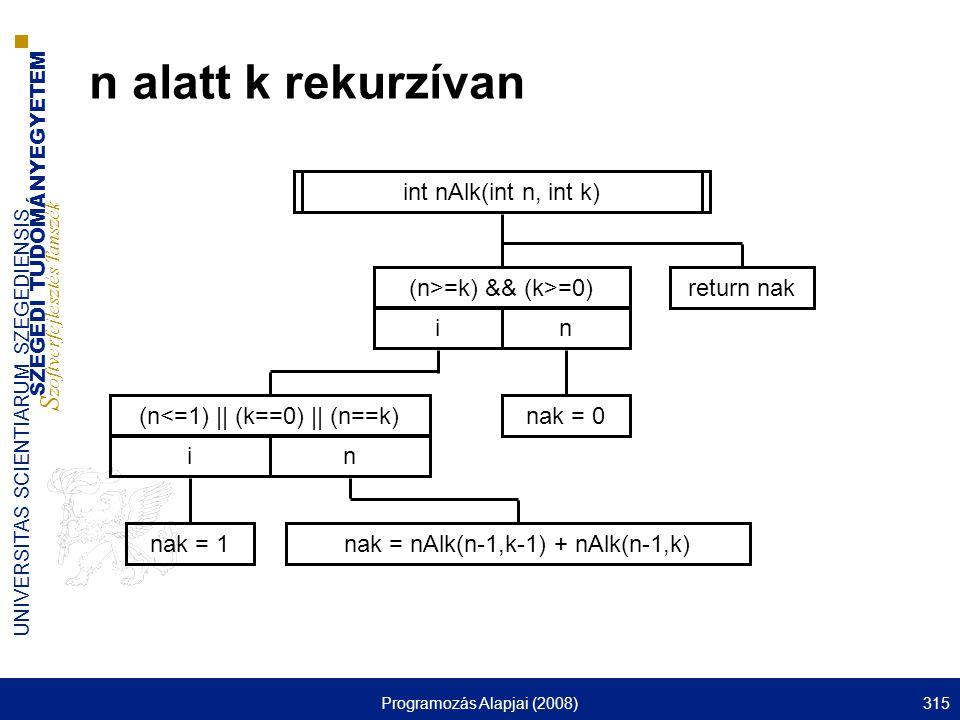 n alatt k rekurzívan int nAlk(int n, int k) (n>=k) && (k>=0) i n