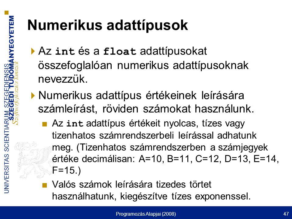 Numerikus adattípusok