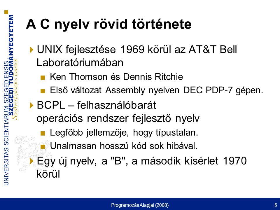 A C nyelv rövid története