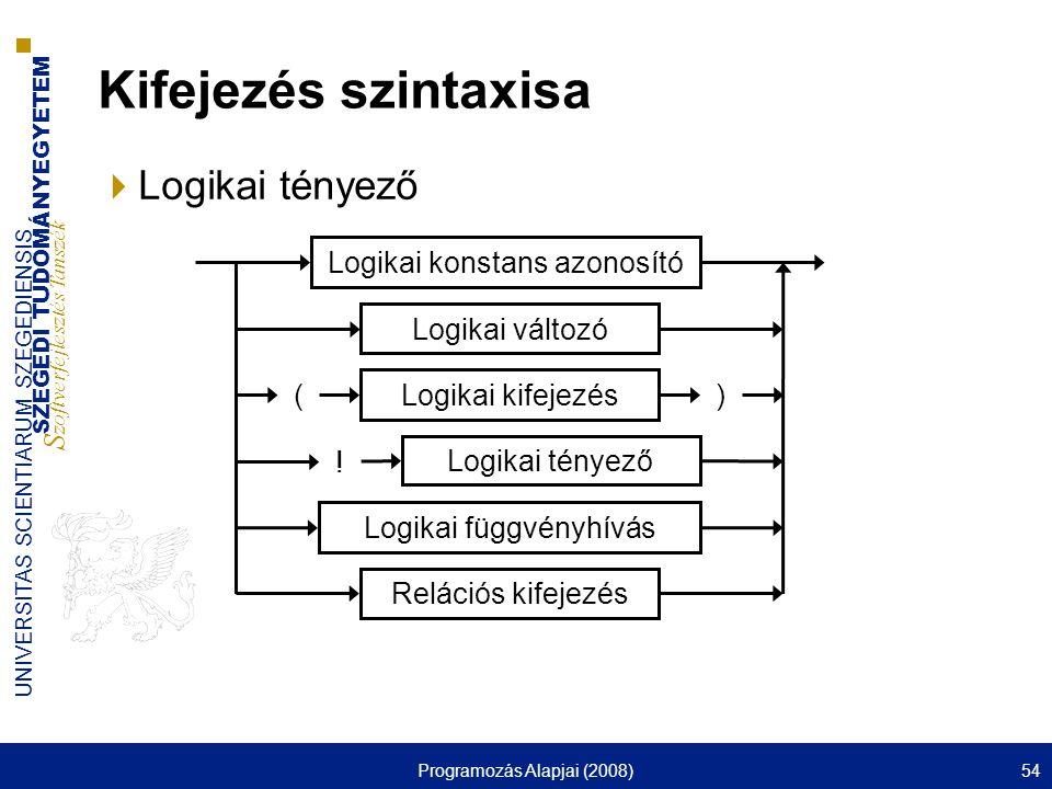 Kifejezés szintaxisa Logikai tényező Logikai változó