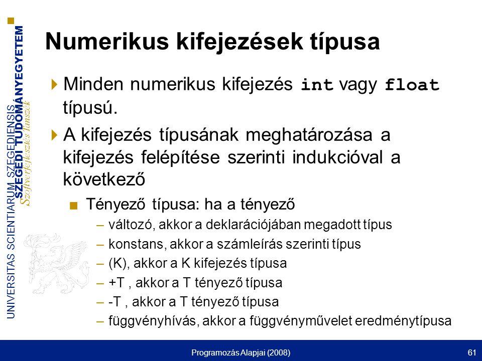 Numerikus kifejezések típusa