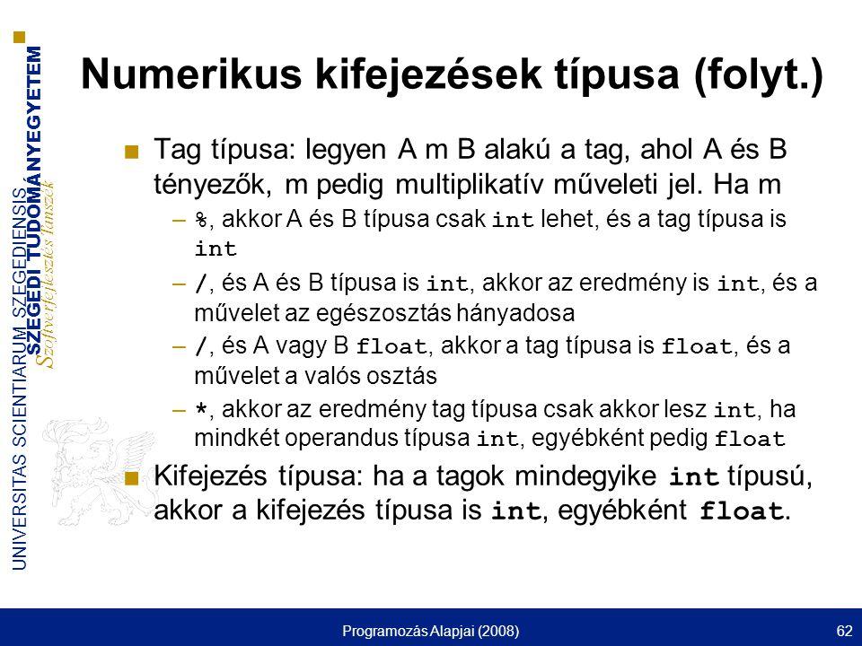 Numerikus kifejezések típusa (folyt.)