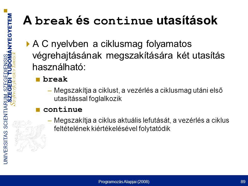 A break és continue utasítások