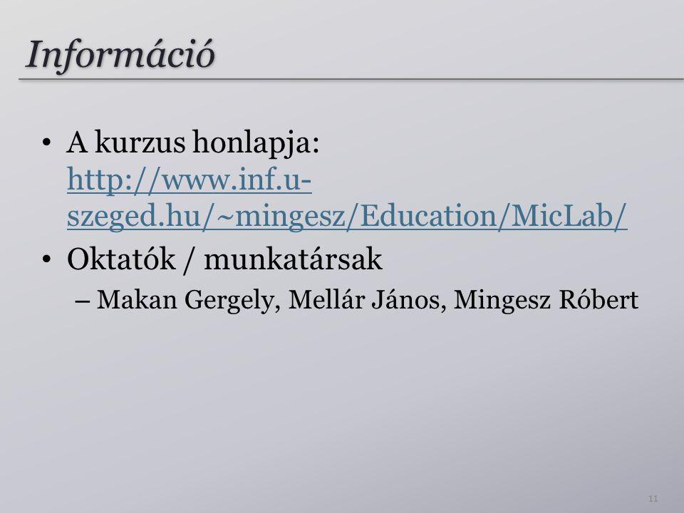 Információ A kurzus honlapja: http://www.inf.u-szeged.hu/~mingesz/Education/MicLab/ Oktatók / munkatársak.