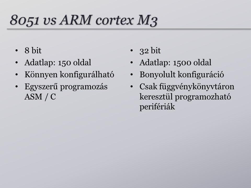 8051 vs ARM cortex M3 8 bit Adatlap: 150 oldal Könnyen konfigurálható