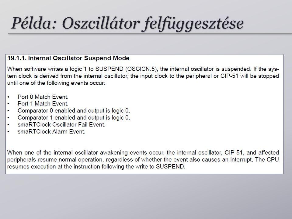 Példa: Oszcillátor felfüggesztése