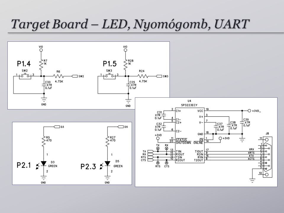 Target Board – LED, Nyomógomb, UART
