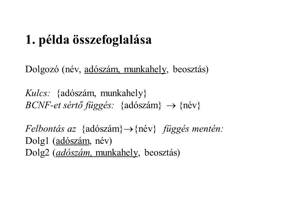 1. példa összefoglalása Dolgozó (név, adószám, munkahely, beosztás)