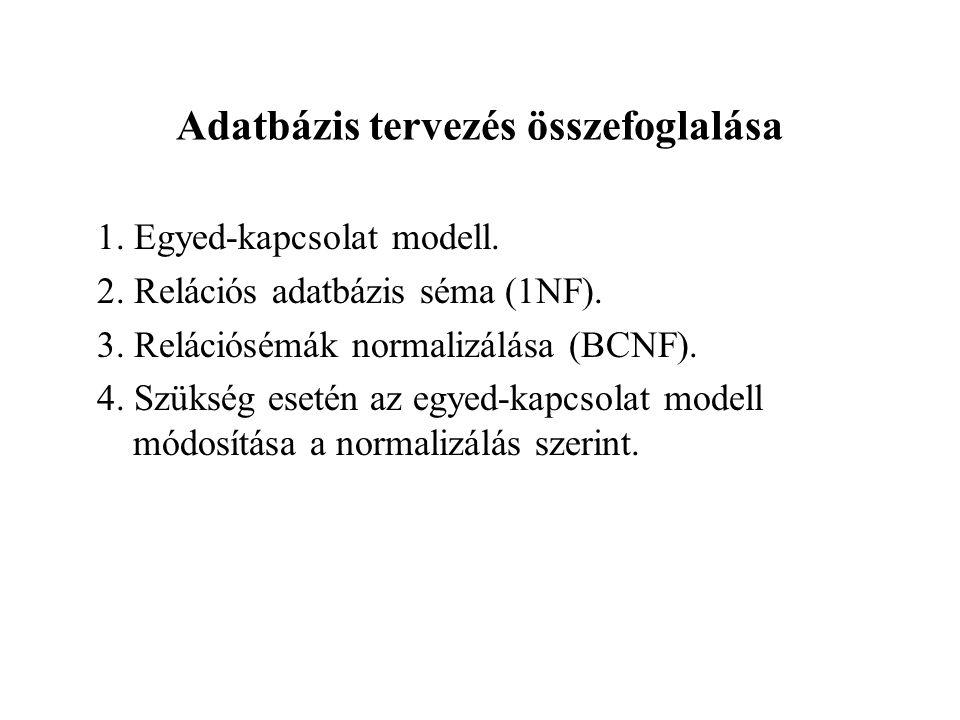 Adatbázis tervezés összefoglalása