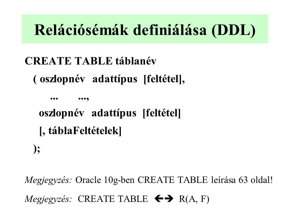 Relációsémák definiálása (DDL)