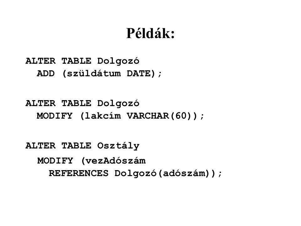 Példák: ALTER TABLE Dolgozó ADD (szüldátum DATE);