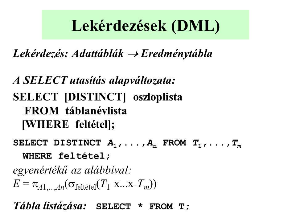 Lekérdezések (DML) Lekérdezés: Adattáblák  Eredménytábla