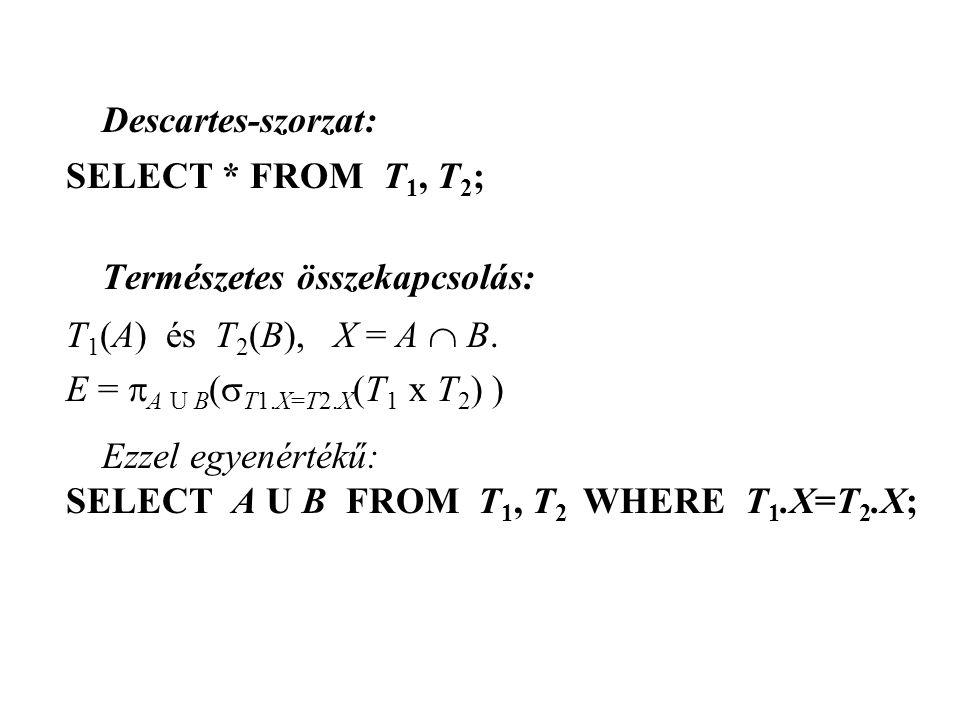 Descartes-szorzat: SELECT * FROM T1, T2; Természetes összekapcsolás: T1(A) és T2(B), X = A  B.