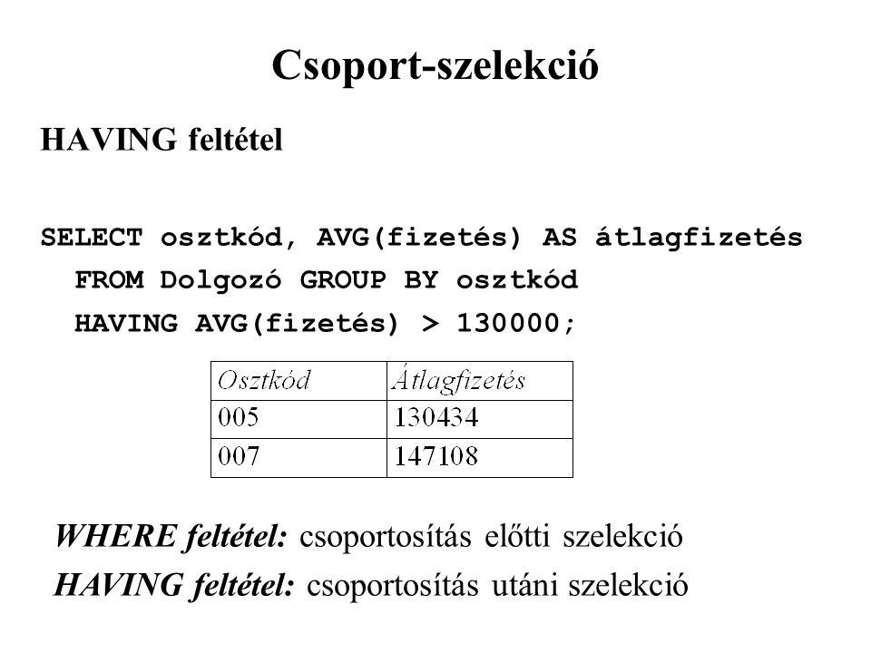 Csoport-szelekció HAVING feltétel