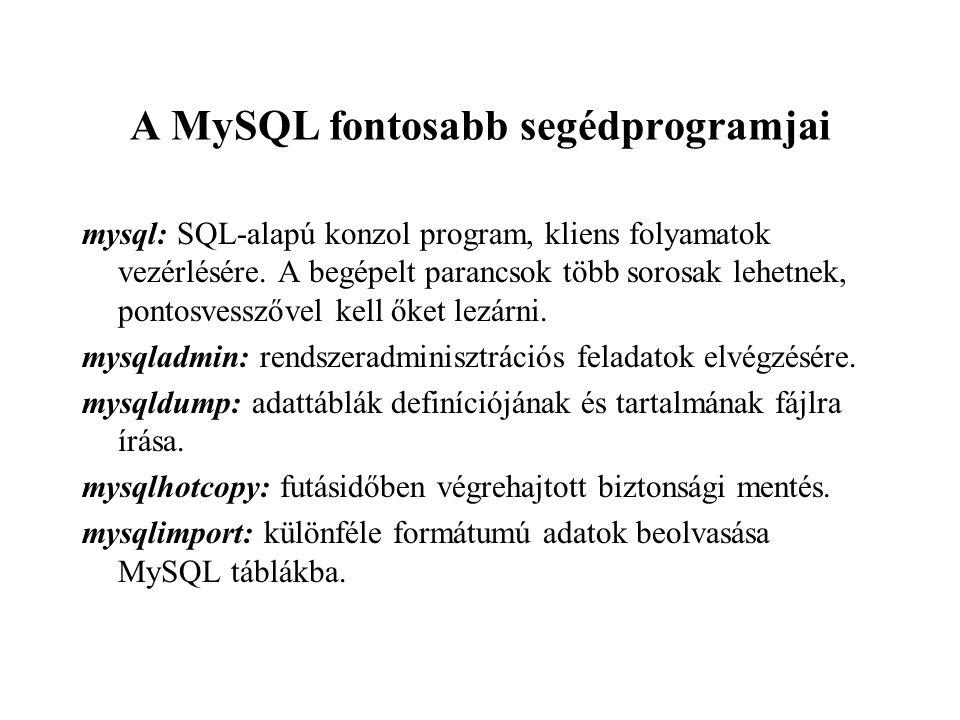 A MySQL fontosabb segédprogramjai