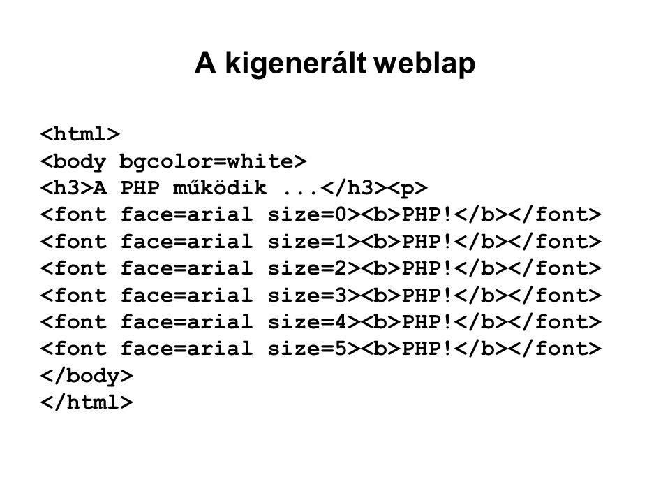 A kigenerált weblap <html> <body bgcolor=white>