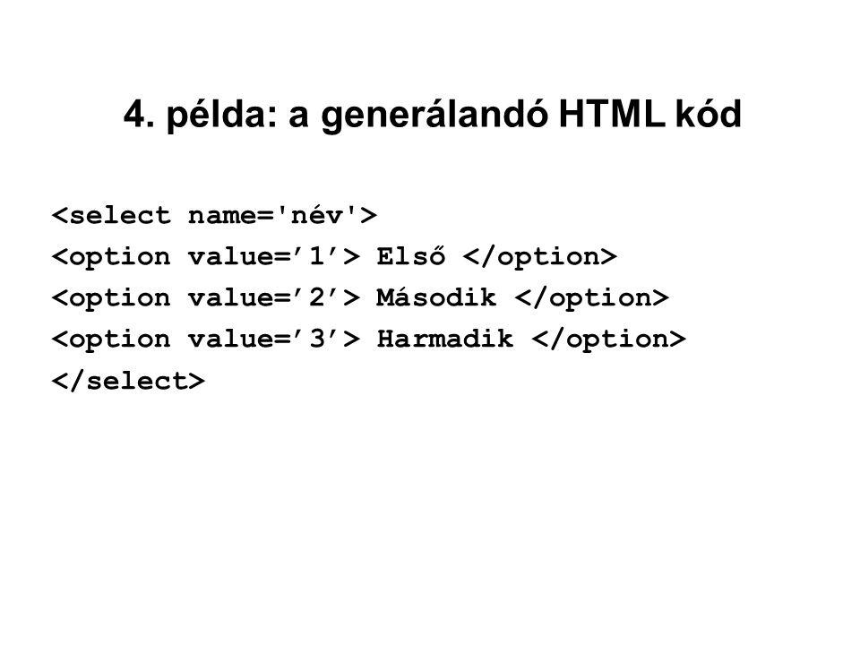 4. példa: a generálandó HTML kód