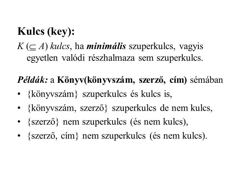 Kulcs (key): K ( A) kulcs, ha minimális szuperkulcs, vagyis egyetlen valódi részhalmaza sem szuperkulcs.